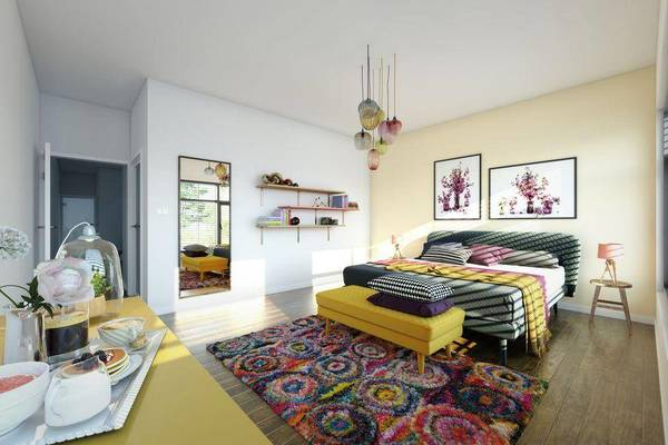Phòng ngủ có nhà vệ sinh được trang trí với những gam màu độc đáo, thu hút