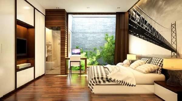 Không gian phòng ngủ xanh mát với cây cối và diện tích nhà vệ sinh hợp lý