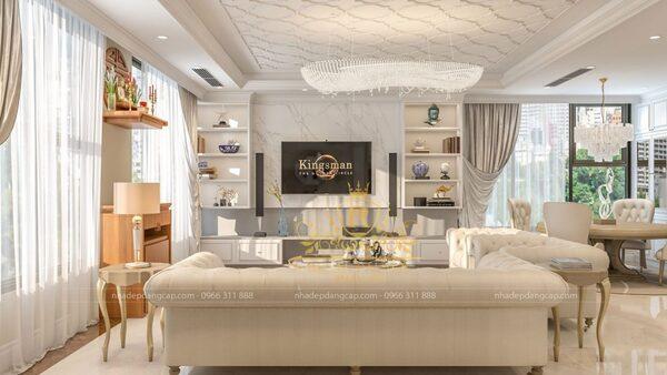 Phòng khách được bố trí nội thất khoa học, đem lại sự thoáng đãng và dễ chịu