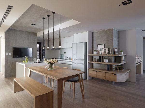 Phòng bếp tiện nghi với nội thất đơn giản