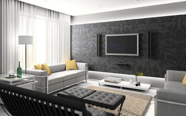 Phòng khách sang trọng với gam màu tương phản đen, xám và vàng