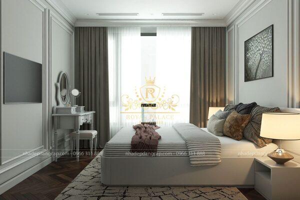 Với những phòng ngủ có diện tích trung bình như thế này sẽ rất dễ bố trí nội thất