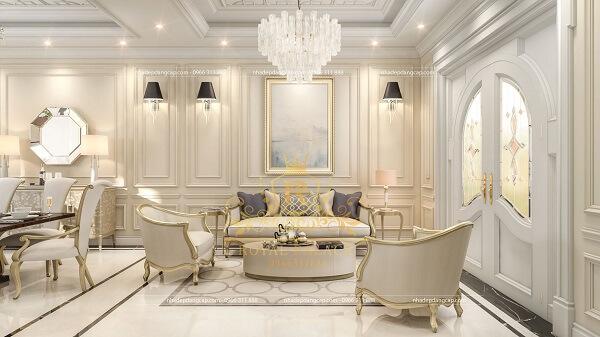 Phòng khách nhà ống sang trọng với gam màu xám trắng