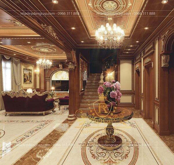 Phòng khách liền kề với phòng bếp ngay cạnh cầu thang