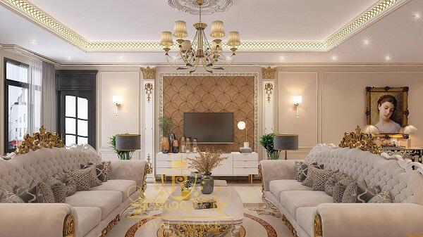 Màu trắng làm chủ đạo giúp không gian phòng khách và bếp sang trọng, tinh tế hơn hẳn