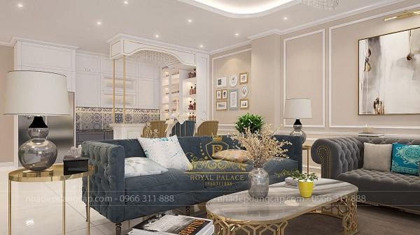 Màu xanh coban của sofa giúp không gian phòng khách thêm trẻ trung, năng động