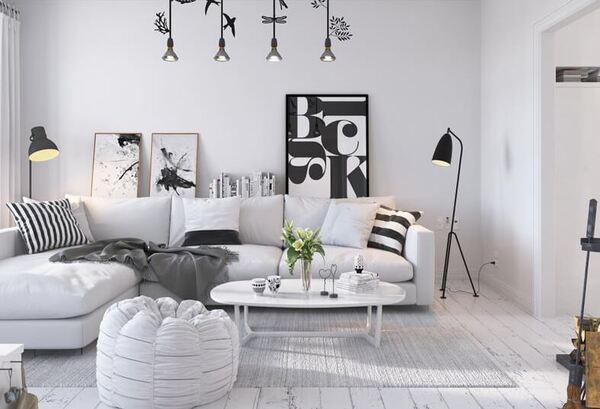 Phòng khách nổi bật với 2 tông màu trắng, đen