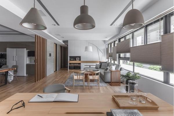 Phòng khách liền bếp phong cách hiện đại