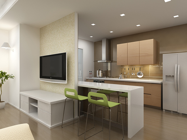 Không gian bếp hiện đại được ngăn cách với phòng khách bằng một quầy bar nhỏ rất sang trọng