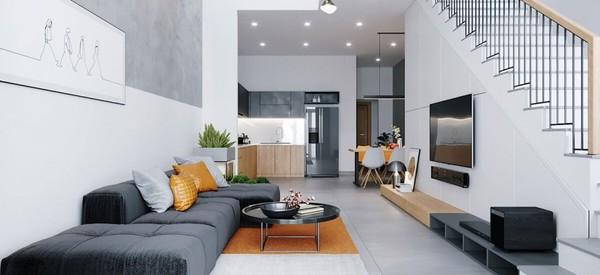 Bếp và phòng khách thiết kế đồng nhất với nhau