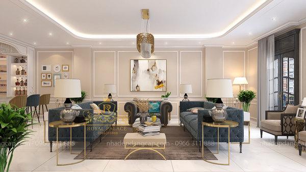 Phòng khách nổi bật với sofa màu xanh coban